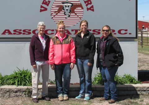 Professor Ricky Sue Barnes Wach, DVM, visited Grand Island with students (from left) Carli Johnson of Hastings, Rachel Schmitz of O`Neill and Sarah Waltemath of Elm Creek. The students are in NCTA's Veterinary Technology program.  (Courtesy photo)