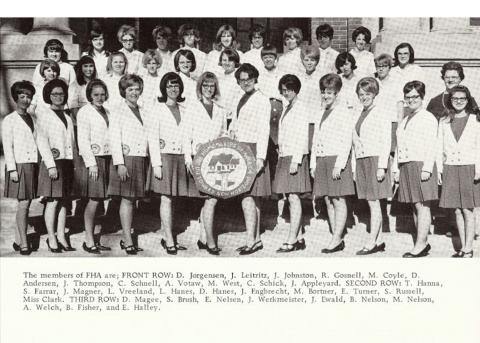 In 1967-68, Future Homemakers of America (FHA) was one of the largest campus clubs for young women at the University of Nebraska School of Agriculture. (UNSA '68 Aggie Yearbook).