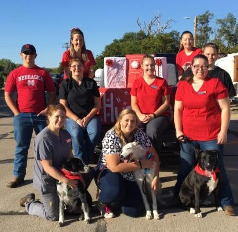 NCTA Veterinary Technology students at the 2017 Curtis Fall Festival Parade. (NCTA VetTech Photo)