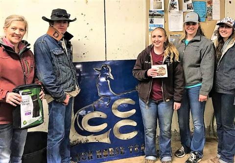 Coach Jo Hergenreder, at left, with NCTA students Damian Wellman, Madisyn Cutler, Huntra Christensen and Nicole Ackland. Not pictured is Quentin Anderson. (NCTA Ranch Horse Team)