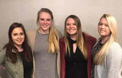 NCTA students at the College Conference on Cooperatives were, from left:  Sadie Christensen, Arnold; Huntra Christensen, Lincoln; Morgan Curran, Holbrook; and Lennae Eisenmenger, Humphrey. (Sievers / NCTA photo)