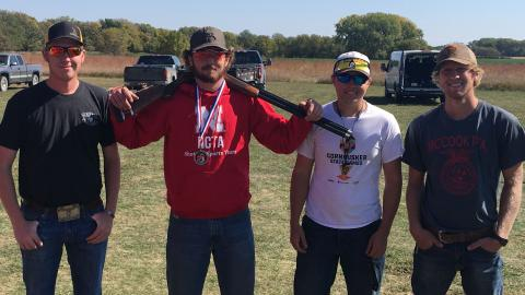 NCTA Aggies competed Oct. 3-4 at Oak Creek Sporting Club in Brainard. From left, Kamren Sitzman of McCook, Colby Mitchell of Burwell who was second place overall, Kaden Bryant of Firth, and Trey Barnhart of McCook. (Alan Taylor / NCTA Photo)