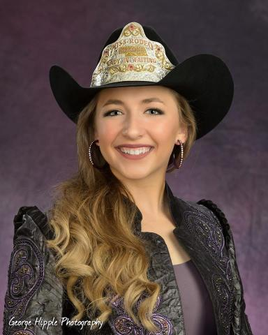 Eva Oliver will receive her new hat crown and official title on January 5 at the Miss Rodeo Nebraska coronation in Valentine. (Photo courtesy of George Hipple Photography)