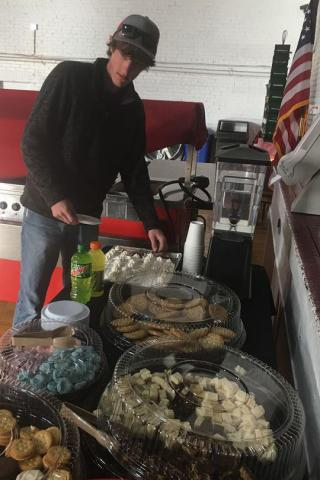 Gatlin Hissing of Oberlin, Kansas, enjoys snacks at the NCTA Student Union. (J. Kennicutt/NCTA News photo)