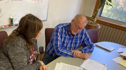 NCTA Associate Dean Jennifer McConville and Dr. Larry Gossen have an initial planning session in May. Dr. Gossen assumed duties as the new dean of the Nebraska College of Technical Agriculture on June 15. (NCTA photo)