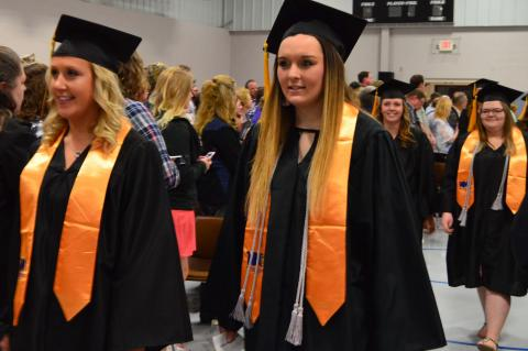 2018 PTK academic honorary graduates arrive for NCTA commencement. The public is invited to the 2019 Graduation on Thursday, May 2 at 1:30 p.m. in Curtis. (Crawford/NCTA News photo)