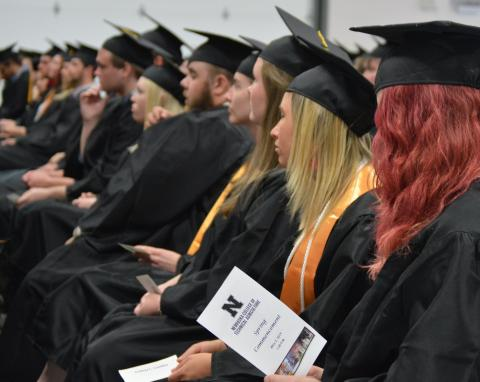At NCTA Commencement on May 2, Aggie graduates listen to Joan Ruskamp advising they pursue their passion and be problem solvers. (NCTA News photo)