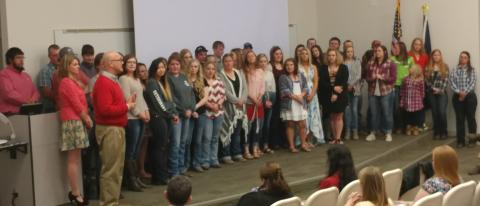 Honor students and academic award recipients at the Nebraska College of Technical Agriculture are recognized by University of Nebraska Vice President Mike Boehm at the 2017 Awards Night. (NCTA News Photo)