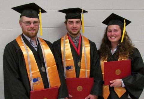 Class of 2018 graduates from the Nebraska College of Technical Agriculture include three friends now in agricultural careers near Hay Springs, Nebraska. Riley Abbott, salutatorian, Nate Letcher, valedictorian, and Erica Mowery graduated Magna Cum Laude with double majors in agribusiness management and ag production systems. (Courtesy photo)