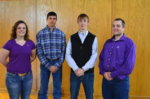 NCTA Heifer Link Awards for 2016 go to (left to right) Bailey Hinrichs, Ayr; Raymond Fleer, Pierce; Wade Vallery, Plattsmouth; and Dalton Johnson, Gering. They receive a bred breeding for their home herd after graduation in May.