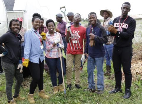 A group of UNL CUSP students took horticulture classes during agricultural skills development at the Nebraska College of Technical Agriculture in Curtis. (Photo by David Munyaneza)