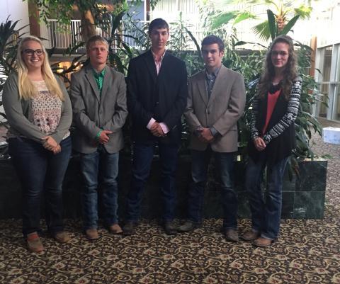 The NCTA Aggie Freshman Livestock Judging Team won third place last weekend at the Mid-America Classic held in Hutchinson, Kan. From left, are Meghan Hurst, Blair; Wyatt Duskie, Ionia, Kan.; Dean Fleer, Pierce; Joe Calvo, Bassett; and Katharine Schudel, Loup City. (NCTA Photo)