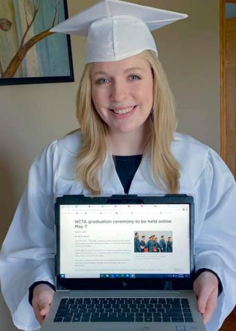 Jocelyn Kennicutt put on her cap and gown to watch her virtual commencement from the Nebraska College of Technical Agriculture. (Courtesy photo)