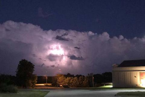 Severe weather with lightning hangs in storm clouds over the NCTA campus in Curtis. (Photo by Jeremy Sievers)
