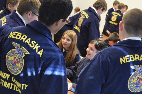 FFA students compete in a District FFA livestock management contest at NCTA. (Crawford/NCTA photo)