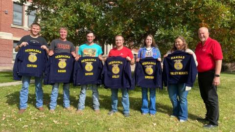 Aggies who receive their American FFA Degrees meet with NCTA Dean Larry Gossen in advance of the National FFA Convention. From left, John Ford, Centura; Ryan Liakos and Braden Johnson, Bayard; Keaton Moore, Ansley; Cassidy Frey, Superior; and Rylie Borgerding, Valley Heights. Alexxandra Malchow, Beatrice (Tri County FFA) was unavailable. (Photo by Annie Bassett / NCTA News)