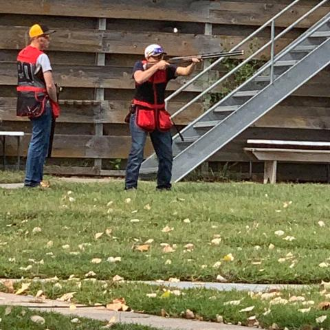 Trey Barnhart, McCook, watches NCTA Aggie teammate Kaden Bryant, Firth, take aim in Lincoln on Sunday. (Photo provided by Kaden Bryant)