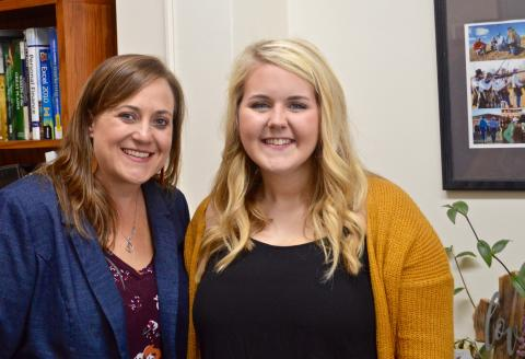 Morgan Wagner (at right) was nominated for Aggie of the Month at the Nebraska College of Technical Agriculture by NCTA Associate Dean Jennifer McConville. (Photo by Sophie Nutter, NCTA student)
