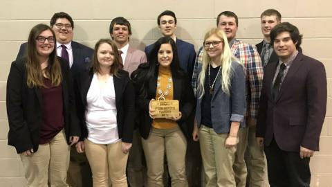 Two NCTA Aggie Livestock Judging Teams competed recently at the Nebraska Cattlemen's Classic in Kearney. The freshmen and sophmore students are coached by Dr. Doug Smith. The students are named in the news article. (Photo by Smith / NCTA)hoto)
