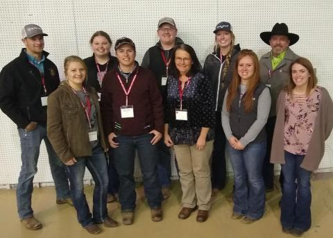 NCTA livestock Aggies at Range Symposium  Back row, Avery Bermel, Randolph; Luci Overweg, White Lake, S.D.; Jacob Jenkins, Mitchell; Jo Cee Johnston, Royal; Alan Taylor, Curtis.  Front row, l-r, Ellie Sandberg, Stratton; Jake Jenkins, Kimball; Libby Fraser, DVM; Ashley Connell, Newport; and Tasha King, instructor.  Not pictured is Lauren Nichols of Scottsbluff. (Crawford/NCTA News)