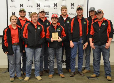 The NCTA Aggies team won first place among 2-year colleges in crops judging. Sophomore and freshmen students combined for this awards photo, from left, Amy Lammers, Ethan Aschenbrenner, Chase Callahan, Jacob Vallery (3rd place individual), Colton Bell, Clade Anderson, Kyle Krantz (1st place individual), Corbin Moore, and Tyler Aschenbrenner. Catherine Ljunggren (5th place individual) was unavailable for the photo. (E. Griffiths / NCTA Photo)