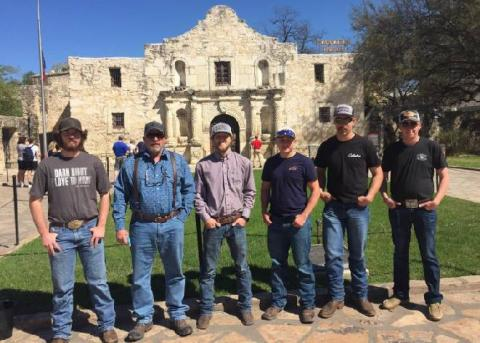 The NCTA Shotgun Sports Team at the Alamo in Austin after competing in National Clay Target Championships in Texas. (R. Taylor / NCTA)