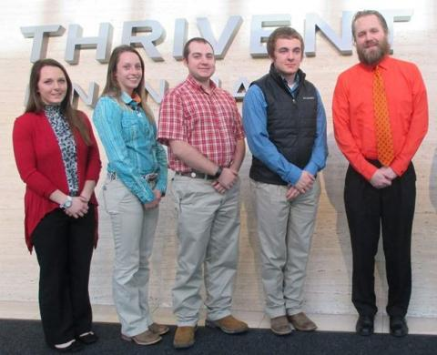 NCTA students attending the 2017 College Conference on Cooperatives in Minneapolis were (from left), Kayla Reynolds, Litchfield;  Alyssa Novak, Eldorado; Dalton Johnson, Gering; Shane Hoer, Blair, and Jeremy Sievers, NCTA associate professor. They visited Thrivent Financial in tours of membership cooperatives. (Courtesy photo)