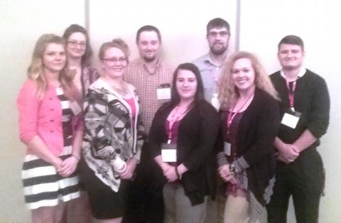 NCTA Collegiate Farm Bureau students attending the Young Farmer and Rancher banquet included, from left, Andrea Burkhardt, Winnetoon; Rachel Dather, Verdigre; Maggie Brunmeier, and Ty Dickey, Bayard; Emilye Vales, DeWitt; Will Kusant, Comstock; Eleanor Aufdenkamp, and Dalon Koubek, North Platte. Jayde Hessler, Gibbon was not available for the photo. (NCTA Photo)