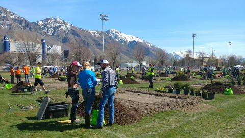 NCTA-Curtis students recently competed at the National Collegiate Landscape Competition in Provo, Utah. The trio of Heath Buchanan, Andrea Burkhardt and Alyssa Novak placed 16th of 57 teams in landscape installation. (NCTA Photo)