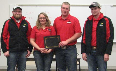 Top 2-Year Crops Team at NCTA's contest March 11 was the NCTA team of (from left) Brent Thomas, Alliance; Maggie Brunmeier, Bayard, 2nd place; John Paul Kain, McCook, 1st place; and Vincent Jones, Kirwin, Kansas, 3rd place. (Ramsdale/NCTA)