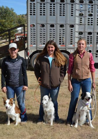 NCTA stock dog students include from left, Kayla Reynolds, Litchfield; Brooke Blowers, Arnold, and Sydney Boden, Ord. (Tilford/NCTA News)