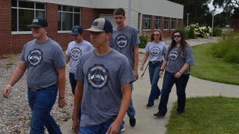 Students at the Nebraska College of Technical Agriculture walk across campus on opening weekend last August. NCTA's academic year ended on May 7 with Honor Students announced this week. (Crawford/NCTA photo)