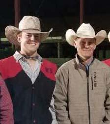 Shelton native Nathan Burnett, left, is a leading saddle bronc rider for the NCTA Aggies. Coach J.R. Dack is at right.