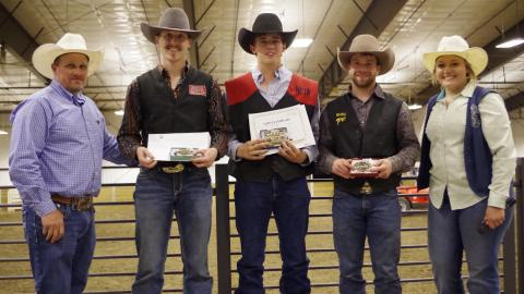NCTA Aggie Rodeo student athlete Nathan Burnett of Shelton, Nebraska, center, won the Great Plains Region Saddle Bronc Riding title of the National Intercollegiate Rodeo Association. L-R, Ron Skovly South Dakota State University Rodeo Coach and GP Region Faculty Director; Paden Sexton, 2nd place, Nathan Burnett, regional champion; Tayte Goodman, 3rd place, and Jade Boote, Dickinson State, GP Student Director. (Courtesy photo by Penny Skovly)