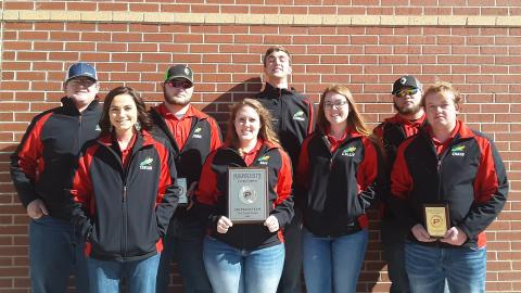 NCTA Crops Judging Team members for the 2020 season are, back row, from left, Jacob Jenkins, Mitchell; Ethan Aschenbrenner, Scottsbluff; Connor Nolan, Lynch; and Tyler Aschenbrenner, Scottsbluff. Front row, Taylor Sayer, Cambridge; Amy Lammers, Axtell; Lilly Calkins, Palmyra; and Chase Callahan, Farnam.  (Ramsdale / NCTA Photo)
