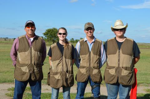 Coach Alan Taylor (far left) with the officers of the NCTA Aggie Trap Club include, Rilee VanDonge, Holton, Kan., president; Stetson Youel, Hay Springs, treasurer; and Trevor Kuhn, Omaha, vice president. (C.Tilford/NCTA News photo)