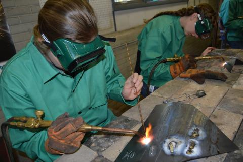 Future agriculture teachers and welding technicians test their brazing skills in the welding program at the Nebraska College of Technical Agriculture. NCTA was named a Top 30 trade school in the U.S. last week. (Crawford/NCTA News)