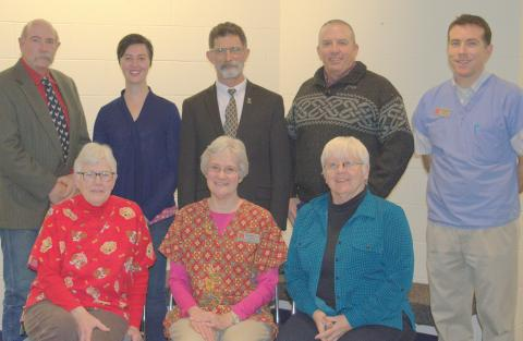 Seven NCTA faculty were recently recognized by the University of Nebraska-Lincoln Parent Association for outstanding work at Curtis with NCTA students. Seated (from left) is Judy Bowmaster-Cole, Ricky Sue Barnes Wach, DVM, and Terri Jo Bek.  Standing (from left) is Dan Stehlik, Tee Bush, Dean Rosati, Alan Taylor, and Glenn Jackson, DVM. (Hauptman/NCTA photo)
