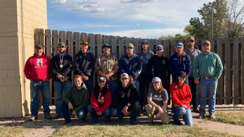 The Nebraska College of Technical Agriculture hosted the Prairie Circuit Conference sporting clays meet for 110 college athletes last weekend. Standing, at left are Coach Alan Taylor and Colby Mitchell of Burwell (third place), and joined by team members and NCTA student volunteers. (Kayden Bryant photo)