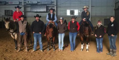The NCTA Ranch Horse Team at CoWN WinterFest in Loveland included (L-R) Lennae Eisenmenger, Damian Wellman, Brady Mattke, Carlee Stutz, Nicole Ackland, Huntra Christensen, Madisyn Cutler, Kaylee Tremel, and Coach Joanna Hergenreder. (Courtesy photo by Laurie Stutz)
