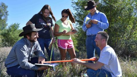 NCTA students measure plant density in a rangeland class. (NCTA file photo)