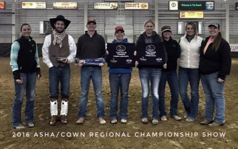 NCTA Aggie Ranch Horse Team members at the Region 5 Championships of the American Stock Horse Association included, from left, Morgan Schrank, Canton, S.D.; Rio McGinley, Oshkosh;  Drake Johnson, Thurston; Makayla Forsythe, Garland; Kaitlyn Thesenvitz, Wood River;  Hanna Christenson, Burwell; Jessa Lemon, Curtis;  and Brooklyn Becker, Beaver City. They were assisted by (not pictured) Carly Wade of Monroe, Maine; Shane Hoer, Blair, and Whitney Hall, Alliance. (NCTA Ranch Horse photo)