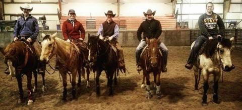 Aggies received customized training in horsemanship and reining at a campus clinic in 2017. Sherman Tegtmeier, second to right, returns to Curtis Feb. 23-24. (NCTA photo)