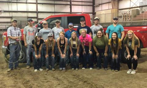 The NCTA Aggie Rodeo club organized for the 2019-2020 season with J.R. Dack (far left with rope) named as the coach. The season opener is at Wisconsin this weekend. (NCTA Photo)