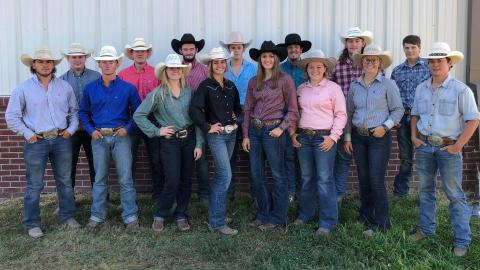 NCTA Rodeo Club members gathered on campus in October 2020 for a club photo. Nathan Burnett, champion saddle bronc rider, is in center back row. (NCTA News photo)