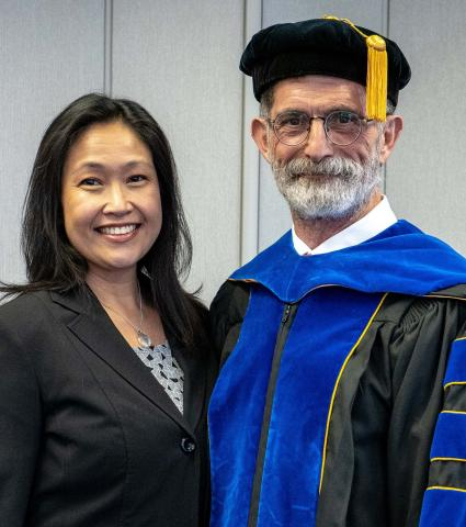 Jessica and NCTA Dean Ron Rosati, photographed at the NCTA graduation on May 2, will be honored at a farewell reception on Monday. (NCTA Photo)