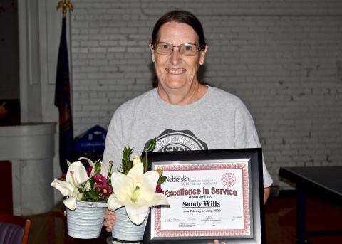 Sandy Wills, a 25-year employee of the Nebraska College of Technical Agriculture, received the 2020 Excellence in Service Award. (S. Nutter/ NCTA News Photo)