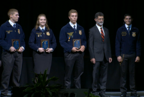 Quentin Anderson, first place; Chantelle Schulz, third; Michael Anderson, second; join NCTA Dean Ron Rosati and State Vice President Manuel Acosta, for the FFA Equine Science Placement award ceremony in Lincoln. (FFA Foundation Photo)
