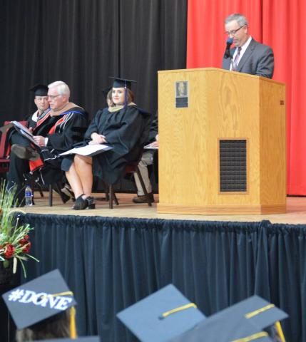 Nebraska ag producer and state senator Dan Hughes advised NCTA graduates to walk through the doors opened by education and industry involvement. (Crawford / NCTA photo)