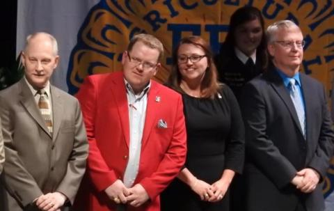Honorary State FFA Degree recipients include, from left, Darrell Peterson of Ainsworth, Doug and Tina Smith of Curtis, and Michael Teahon of Gothenburg. (Courtesy photo)